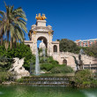 Barcelona ciudadela park lake fountain with golden quadriga of A - Stock Photo
