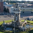 Plaza de Espana fountain with National Palace in background, Bar - Stockfoto