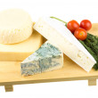 Variety of cheese: ementaler, gouda, Danish blue soft cheese and — Stock Photo #18794595