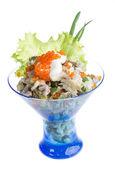 Salad with shrimp, avocado, tomatoes, red caviar — Stock Photo