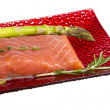 Salmon fillet garnished - Stock Photo