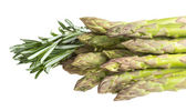 Fresh asparagus spears with rosemary isolated on white — Stock Photo