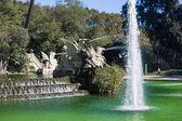 Barcelona ciudadela park lake fountain with golden quadriga of A — Stock Photo