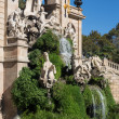 barcelona ciudadela park lake fountain with golden quadriga of a — Stock Photo