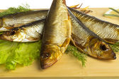 Smoked sprat - appetizing snack — Stock Photo