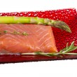 Salmon fillet garnished — Stock Photo #22632603