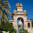 Stock Photo: Barcelonciudadelpark lake fountain with golden quadrigof A