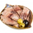 Pieces of herring. studio isolated. — Stock Photo