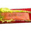 Salmon fillet garnished — Stock Photo #22638237