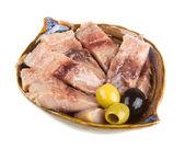 Pieces of herring. studio isolated. — Stock Photo