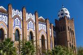 Barcelona bullring La Monumental mosaic egg detail in Gran via — Stock Photo