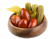 Marinaded vegetables - tomato and cucumber — Stock Photo