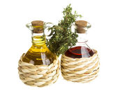 Oil and Vinegar with thyme — Stock Photo