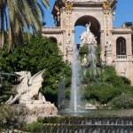 Barcelona ciudadela park lake fountain with golden quadriga of Aurora — Stock Photo #23615113