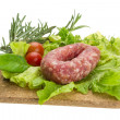 Royalty-Free Stock Photo: Salami with rosemary, salad and tomatoes