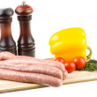 Raw sausages and ingredients — Stock Photo