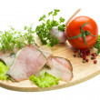 Stock Photo: Ripe fresh ham with vegetables