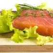 Salmon fillet garnished — Stock Photo #23992193