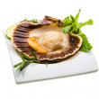 Royalty-Free Stock Photo: Scallop with asparagus, lime, mint and rosemary