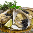 Oysters with black cavair — Stockfoto
