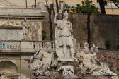 Sculpture and fountain of Piazza del Popolo . The steps lead up — Stock Photo