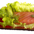Salmon fillet garnished — Stock Photo #24691959