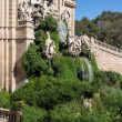 Barcelona ciudadela park lake fountain with golden quadriga of Aurora - Stock Photo