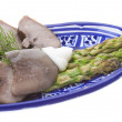 Stok fotoğraf: Fillet of pork tongue with asparagus
