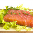 Salmon fillet garnished — Stock Photo #24979601
