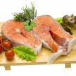Stock Photo: Raw fresh bright salmon with vegetables