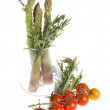 Stock Photo: Asparagus, rosemary and tomato