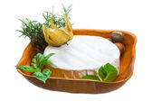 Camembert witn herbs, nuts and honey — Stock Photo
