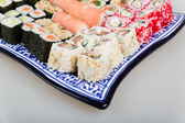 Sushi Set - Different Types of Maki Sushi and Nigiri Sushi — Стоковое фото