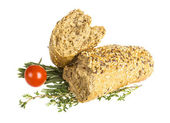 Bread with seeds and herbs — Stock Photo