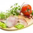 Ripe fresh ham with vegetables — Stock Photo