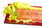 Filet z łososia przyozdobionym — Zdjęcie stockowe