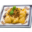 Lumaconi with pork and basil — Stockfoto