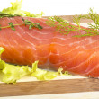Salmon fillet garnished — Stock Photo #26358185