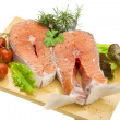 Raw fresh bright salmon with vegetables — Foto Stock
