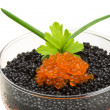 Rad and Black caviar — Stock Photo