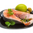Stock Photo: Raw Salmon steak