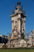 Plaza de Espana fountain with National Palace in background, Barcelona, Catalonia, Spain, Europe — Stock Photo