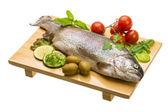 Fresh raw rainbow trout — Stock Photo