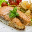 Grilled salmon with pasta — Stock Photo