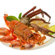 Stock Photo: Spiny lobster, shrimps, crab legs and rice