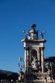 Fonte de espana de plaza com o palácio nacional em segundo plano, bar — Foto Stock