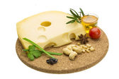 Cheese witn honey and nuts — Stock Photo