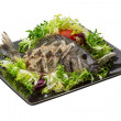 Grilled Tilapia with salad — Stock Photo