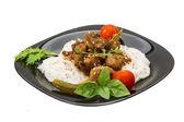 Fideos de arroz con carne de cerdo y hierbas — Foto de Stock