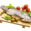 Fresh raw rainbow trout — Stock Photo